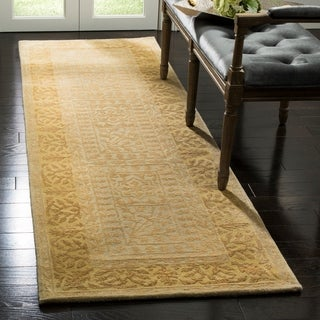 Safavieh Handmade Silk Road Beige/ Light Gold New Zealand Wool Rug (2'6 x 10')