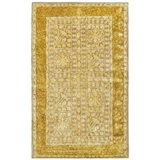 Safavieh Handmade Silk Road Beige/ Light Gold New Zealand Wool Rug (4' x 6')