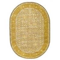 "Safavieh Handmade Silk Road Beige/ Light Gold New Zealand Wool Rug - 4'6"" x 6'6"" oval"