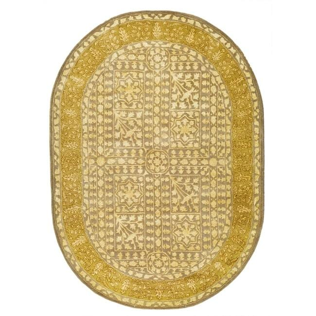 Safavieh Handmade Silk Road Beige/ Light Gold New Zealand Wool Rug (7'6 x 9'6 Oval)