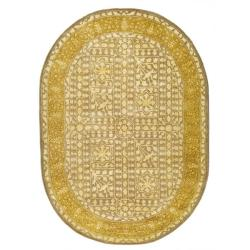Safavieh Handmade Silk Road Beige/ Light Gold New Zealand Wool Rug (7'6 x 9'6 Oval) - Thumbnail 0