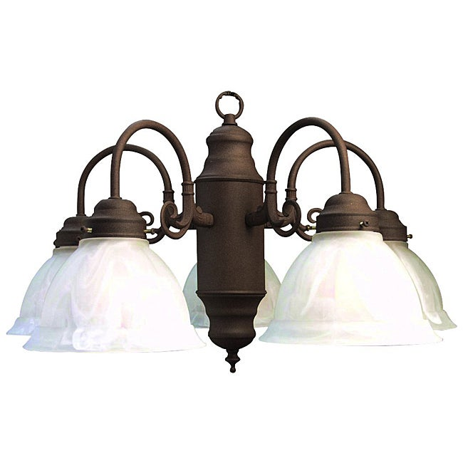 Woodbridge Lighting Basic 5-light Antique Bronze Marble Glass Chandelier