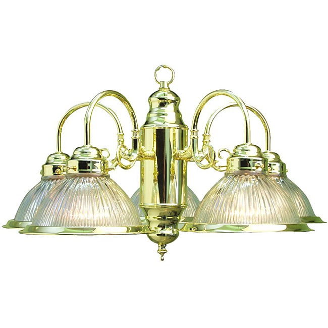 Woodbridge Lighting Basic 5 Light Polished Brass Prism Glass Chandelier