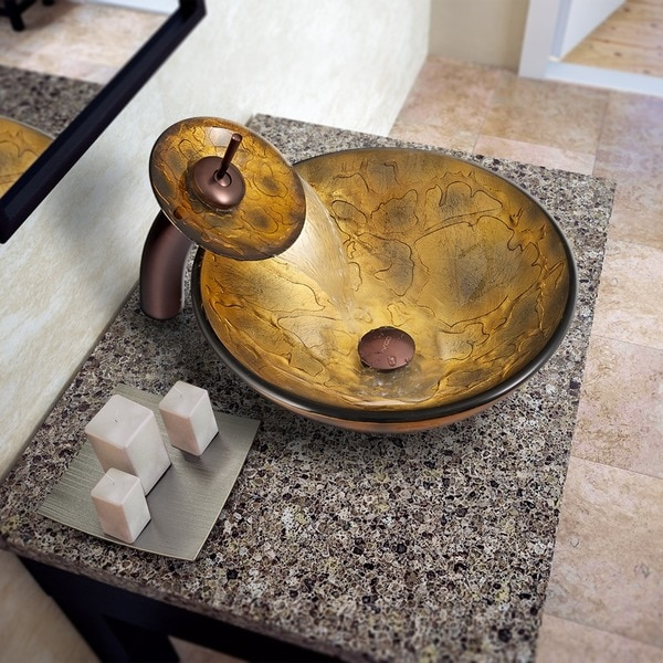 VIGO Copper Shapes Glass Vessel Sink and Waterfall Faucet Set in Oil Rubbed Bronze