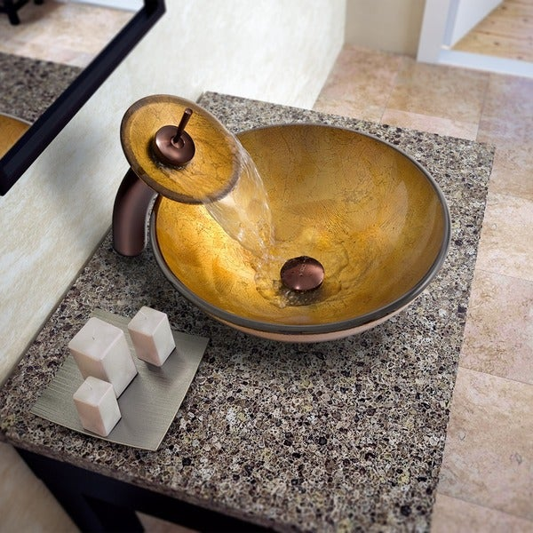 VIGO Liquid Gold Glass Vessel Sink and Waterfall Faucet Set in Oil Rubbed Bronze
