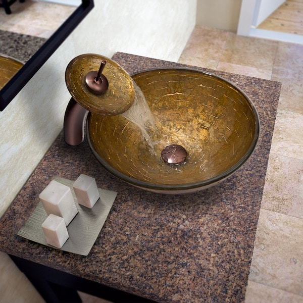 VIGO Textured Copper Glass Vessel Sink and Waterfall Faucet Set in Oil Rubbed Bronze