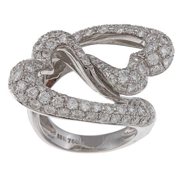 18k White Gold 3 1/2ct TDW Diamond Linked Hearts Estate Ring (H-I, VS1-VS2)