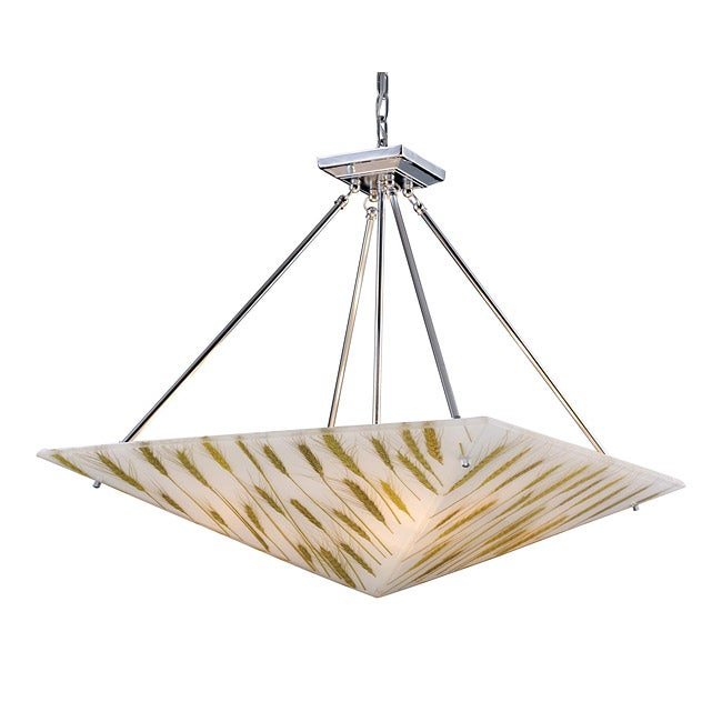 Modern Organics Wheat Material Polished Chrome 4-light Chandelier