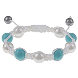 La Preciosa Created Shell Pearl and Turquoise Bead White Macrame Bracelet