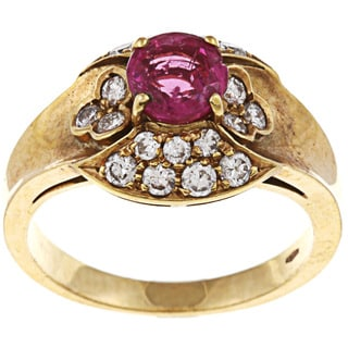 Pre-owned 18k Yellow Gold 5/8ct TDW Diamond and Ruby Estate Ring (J-K, SI1-SI2)