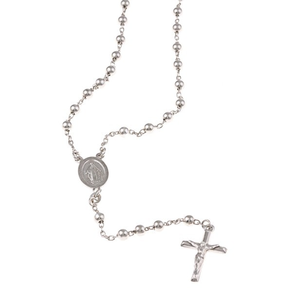 Long 925 Sterling Silver Rosary Bead Cross Necklace sFc7iGRWHA