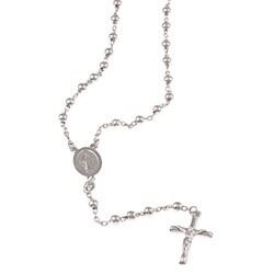La Preciosa Sterling Silver Rosary Bead and Cross Necklace