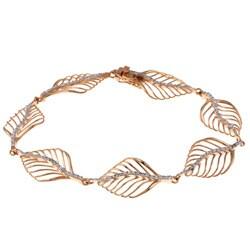 La Preciosa Rose Goldtone Silver Cubic Zirconia Leaf Link Bracelet