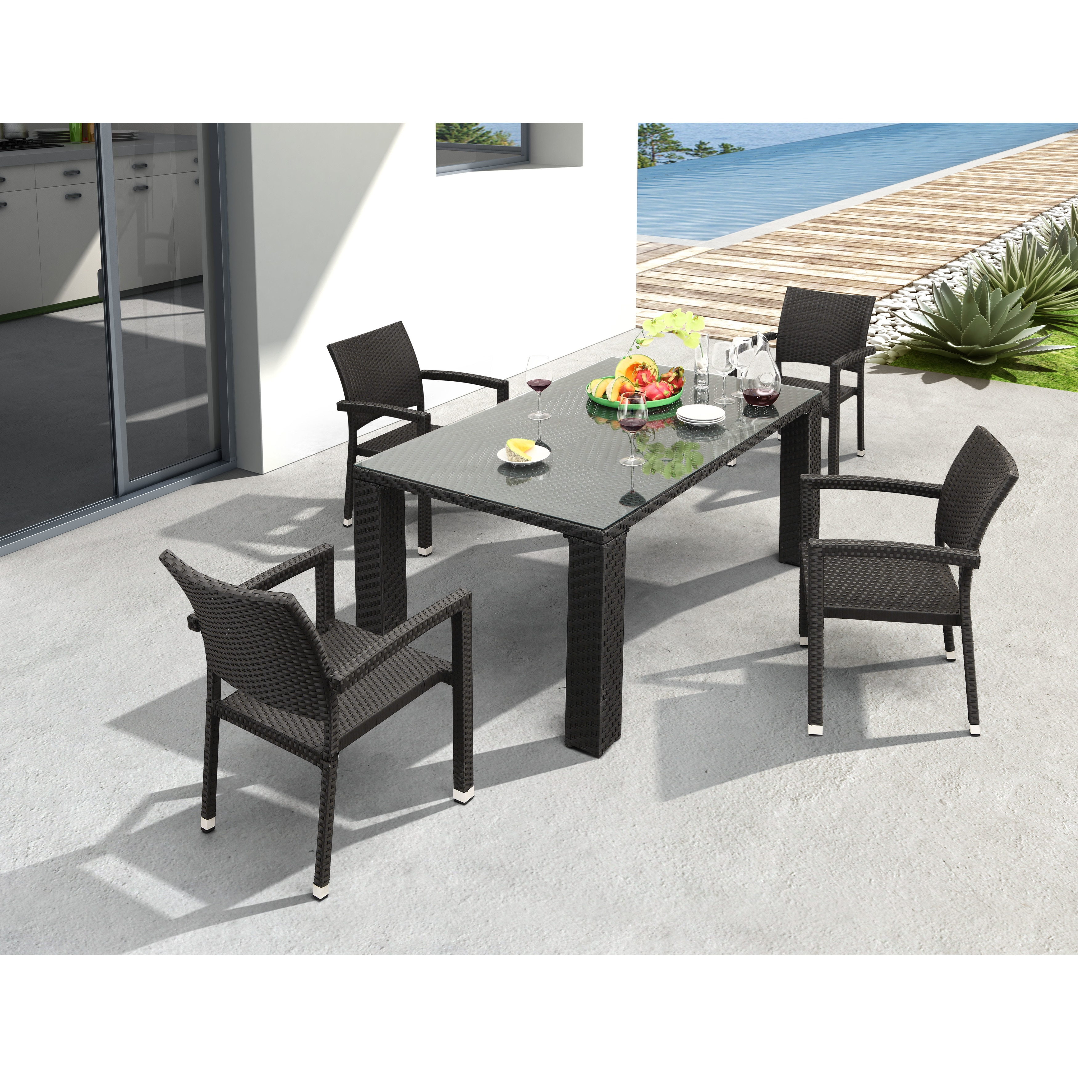 Havenside Home Umkumiut Indoor/ Outdoor Glass-top Table (Dimensions: 39.5 in. W x 63 in. L x 29 in. H. We)