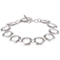 La Preciosa Sterling Silver Square Link Toggle Bracelet