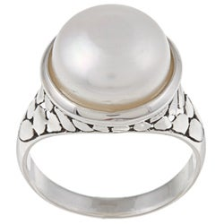 La Preciosa Sterling Silver Created Shell Pearl Ring