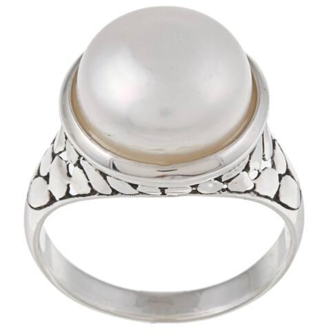 La Preciosa Sterling Silver Created Shell Pearl Ring