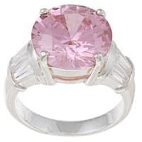 La Preciosa Sterling Silver Pink and Clear Cubic Zirconia Ring
