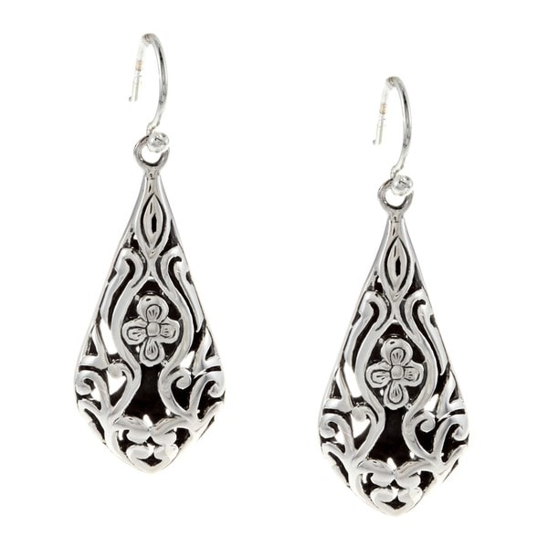 Sunstone Sterling Silver Bali Filigree Dangle Earrings