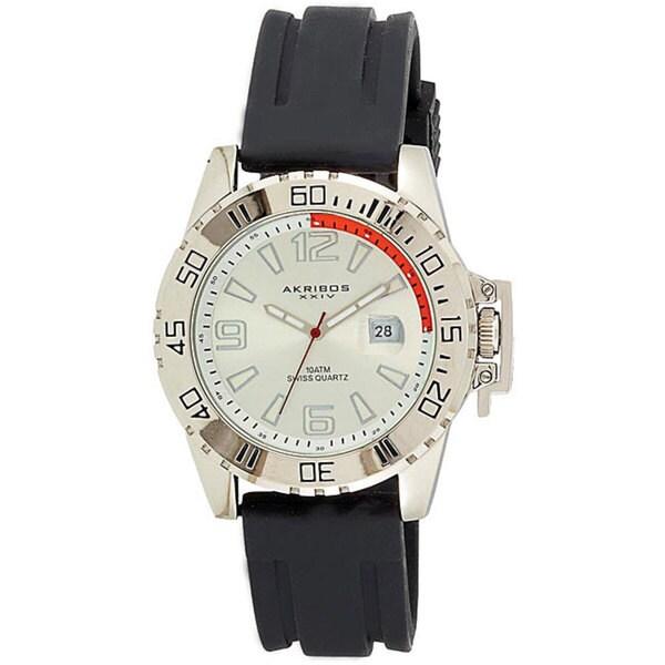 Akribos XXIV Men's Swiss Quartz Sport Silver-Tone Watch