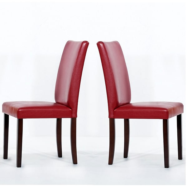 Warehouse Of Tiffany Shino Red Faux Leather Dining Chairs Set 2