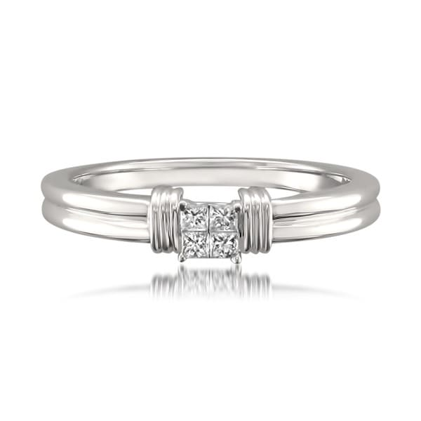 Montebello 14k White Gold 1/10ct TDW Princess Diamond Ring (G-H, I1)