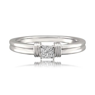 Montebello 14k White Gold 1/10ct TDW Princess Diamond Ring
