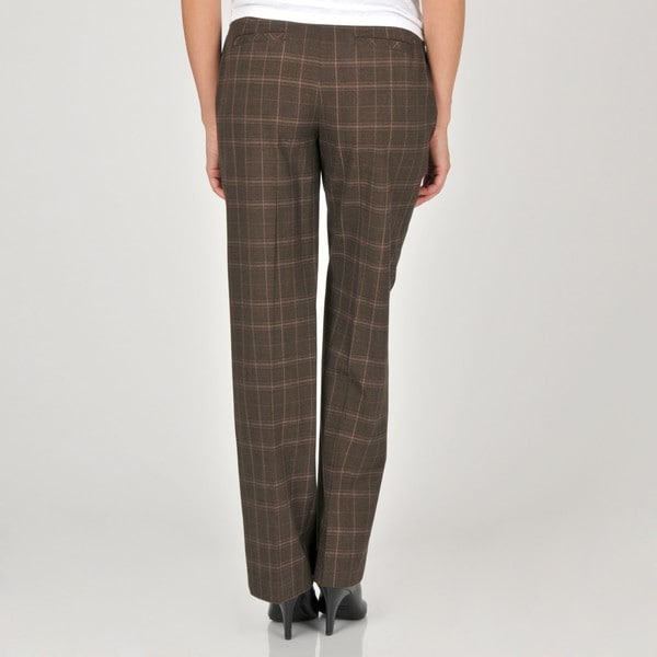 Khakis & Co Studio Women's Brown Glen Plaid Bi-Stretch Trousers