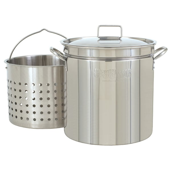 Bayou Classic 36-quart Stainless Boiler Stock Pot and Steamer Basket