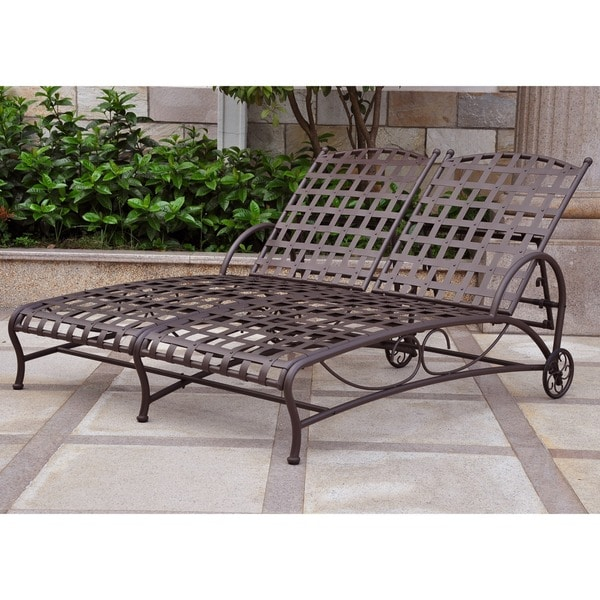 pool chaise lounge lowes international caravan double position patio covers outdoor cushions walmart