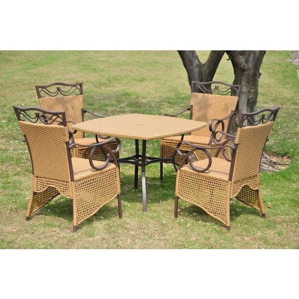 International Caravan Valencia 5-piece Resin Wicker/ Steel Skirted Dining Set