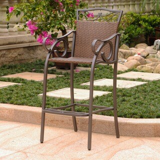 International Caravan Valencia Outdoor Wicker Bar-Height Barstool (Set of 2) (4 options available)
