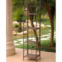 International Caravan Valencia Powder-coated Steel Wicker 4-tier 12-inch Wide Plant Shelf