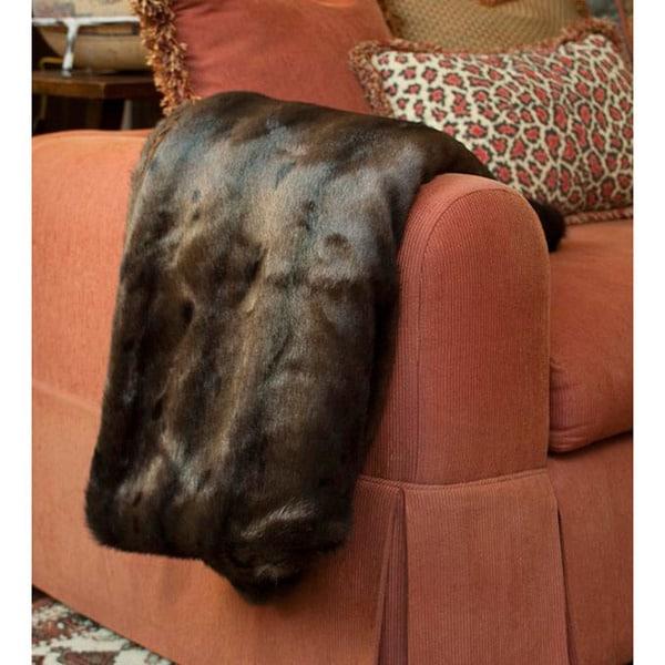 Brown Faux Fur Throw