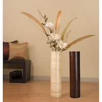 White Magnolias with 27-inch Bamboo Floor Vase