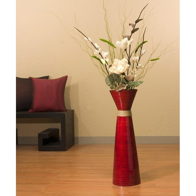 White Sword Lilies with 28-inch Bamboo Persimmon Vase