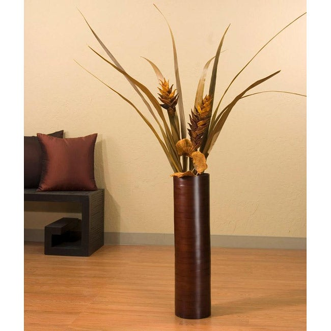 Heliconia Flowers with 27-inch Bamboo Floor Vase
