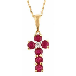 Anika and August 14k Yellow Gold Ruby and Diamond Accent Fashion Necklace
