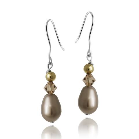 Glitzy Rocks Silver Champagne Faux Pearl and Crystal Earrings