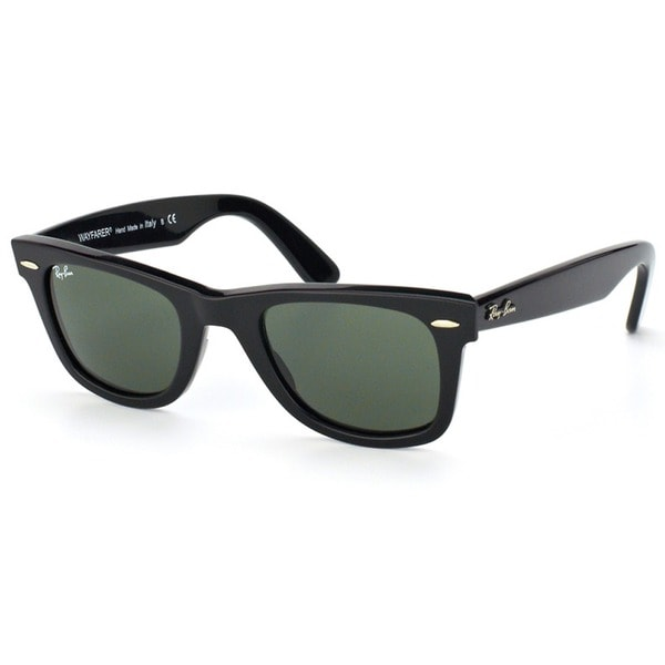ray ban black wayfarer sunglasses  Ray-Ban Original Wayfarer RB 2140 Unisex Black Frame Green Lens ...