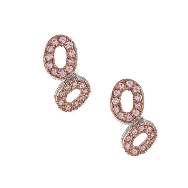 Collette Z Pink-plated Silver Pink Cubic Zirconia Asymmetrical Oval Earrings