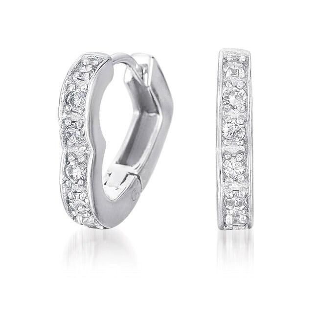 Collette Z Sterling Silver Clear Cubic Zirconia Heart-shaped Hoop Earrings
