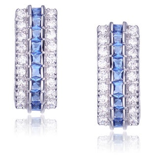 Collette Z Sterling Silver Blue and Clear Cubic Zirconia Stud Earrings