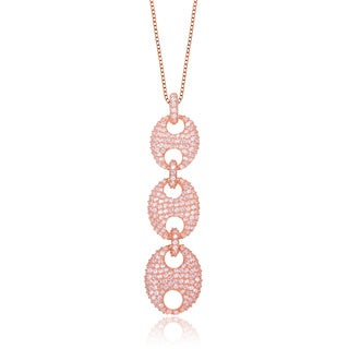 Collette Z Pink Silver Cubic Zirconia Trio Oval Link Necklace