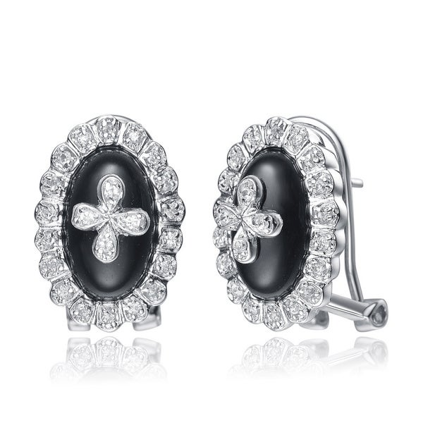 Collette Z Sterling Silver Black Onyx and Clear Cubic Zirconia Earrings