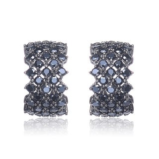 Collette Z Black-plated Silver Black Cubic Zirconia Semi-hoop Earrings