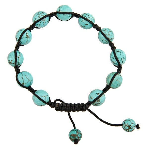 Dolce Giavonna Turquoise Howlite Bead Black Macrame Bracelet