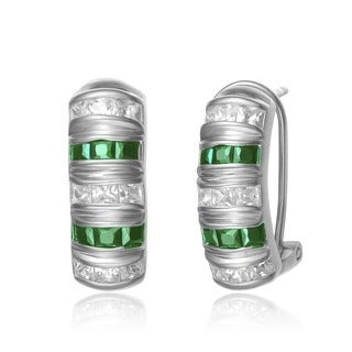 Collette Z Sterling Silver Princess-cut Green and White Cubic Zirconia Earrings