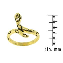 14k Goldplated Round-cut Clear Cubic Zirconia Snake Ring