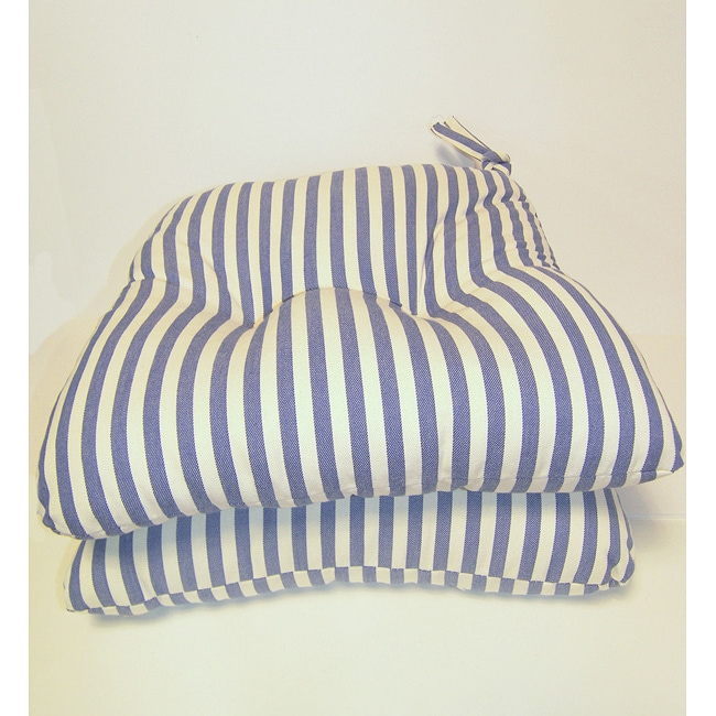 Blue Stripe Chair Pads (Set of 2)